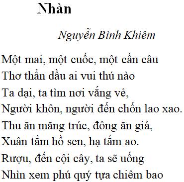 Bài thơ Nhàn (Nguyễn Bỉnh Khiêm) – Bài thơ ca ngợi niềm vui trong cảnh sống thanh nhàn